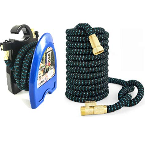 Expandable Garden Hose 50ft and Hose Reel. New Model!! Light Weight Triple Layer Expanding Hose + Hose Reel! Brass Fittings & On Off (Lightweight Hose Reel)