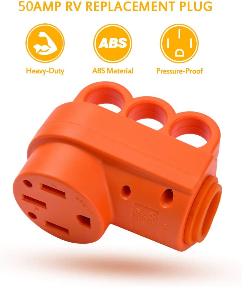 MICTUNING 125 250V 50Amp Heavy Duty RV Female Replacement Receptacle Plug with Ergonomic Handle