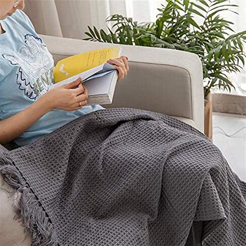 LYQZ Doux Texturé en Tricot Doux Throw Blanket avec Pompons, Fluffy légère Acrylique Gris Couverture Throw for Bed