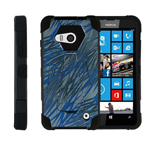 Dash Designs 550 (TurtleArmor | Microsoft Lumia 550 Case [Dynamic Shell] High Impact Proof Hard Kickstand Case Layer Hard Combo with Clear Screen Protector Camouflage Design Set - Blue Dashes)