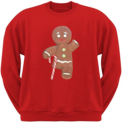 Old Glory Ginger Bread Man With Candy Cane Crutch Red Crew Neck Sweatshirt - Large