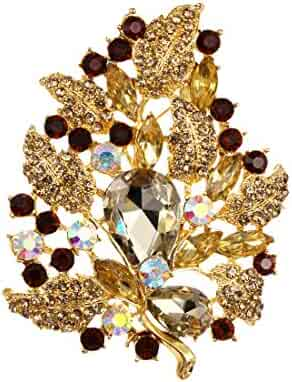 ce44f7941d5 WeimanJewelry Gold Plated Large Rhinestone Glass Crystal Wedding Flower  Leaf Bouquet Brooch Pin for Women