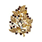 WeimanJewelry Gold Plated Large Rhinestone Glass Crystal Wedding Flower Leaf Bouquet Brooch Pin for Women (Brown)