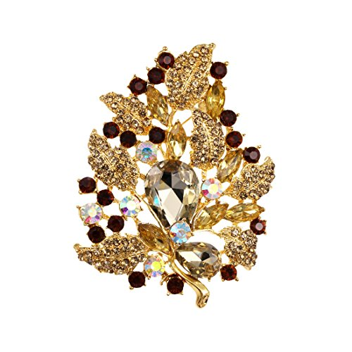 WeimanJewelry Gold Plated Large Rhinestone Glass Crystal Wedding Flower Leaf Bouquet Brooch Pin for Women (Brown) by WeimanJewelry