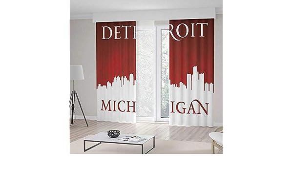 YOLIYANA Cortinas para Ventana Detroit Decor Detroit City tipografía con Letras de construcción Transporte Globo de Aire Decorativo: Amazon.es: Hogar