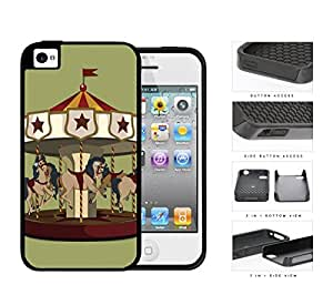 Horse Carousel Amusement Park Ride 2-Piece Dual Layer High Impact Rubber Silicone Cell Phone Case Apple iPhone 4 4s