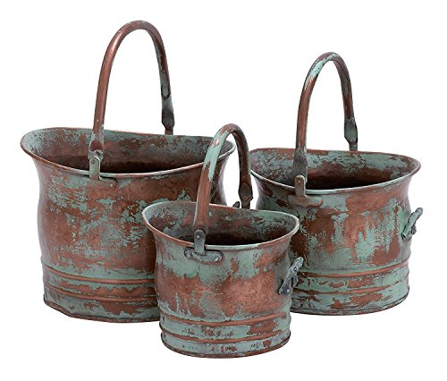 - Contemporary Metal Planter With Rustic Style In Green - Set Of 3
