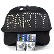 """Black Trucker Hat Baseball Cap with Flashing LED Lights Blinks """"PARTY"""" in 3 Color Modes Has One-Size-Fits-All Snapback Breathable Mesh Panels and 2 extra Batteries by Imprints Plus"""