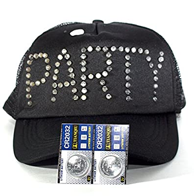 "Black Trucker Hat Baseball Cap with Flashing LED Lights Blinks ""PARTY"" in 3 Color Modes Has One-Size-Fits-All Snapback Breathable Mesh Panels and 2 extra Batteries by Imprints Plus"
