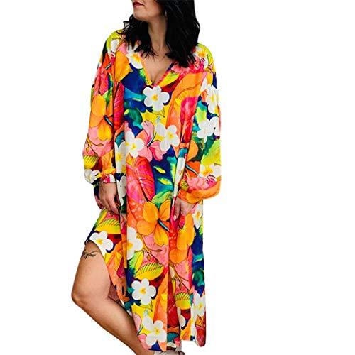 Ballad Womens Plus Size Floral Printed Dresses Long Sleeve V Neck Loose Dresses Irregular Casual T Shirt Dresses ()