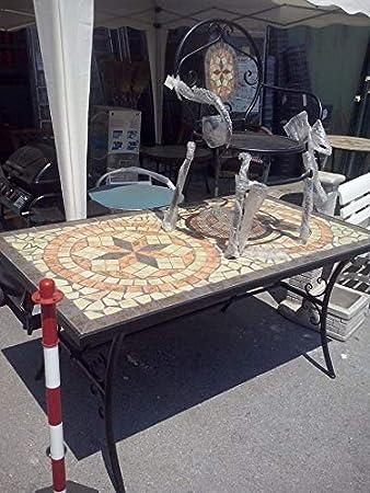 AXEL Mesa de jardín Hierro y Terracota 160 x 90 con Mosaico ...
