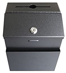 Pyramid Heavy Duty 18 Gauge Steel Locking Suggestion Box - Black