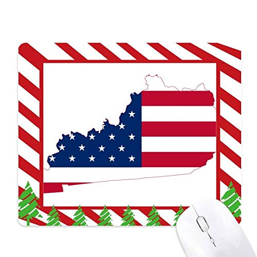 Kentucky USA Map Stars Stripes Flag Shape Mouse Pad Candy Cane Rubber Pad Christmas Mat