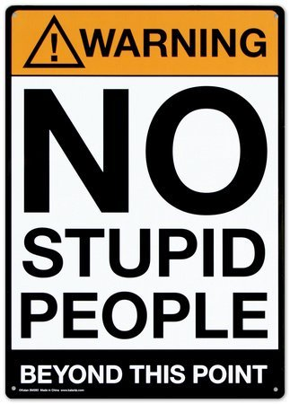 Stupid People Sign (Warning : No Stupid People Beyond This Point, Metal Tin Sign, Wall Decorative Sign, Size 8
