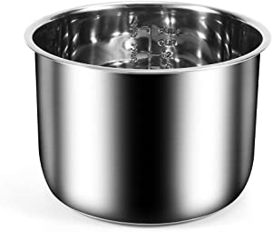 6Qt Power Cooker XL Replacement Inner Pot Stainless Steel Compatible with 6 Quart Power Pressure Cooker PPC770 PPC771 PPC770-1 PRO PCXL-PRO6 YBD60-100 WAL1 WAL2 Stainless Steel Inner Pot Parts - 6 QT