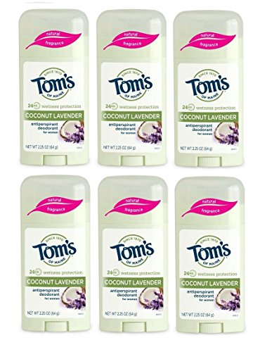 Tom's of Maine Women's Natural Stick Antiperspirant, Coconut Lavender, 2.25 Ounce, Pack of 6 ()
