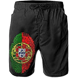 TE2EP Men's Beach Shorts Swim Trunks Portugal Flag Fingerprint Casual Classic Fit Short Pants With Pockets For Swimming