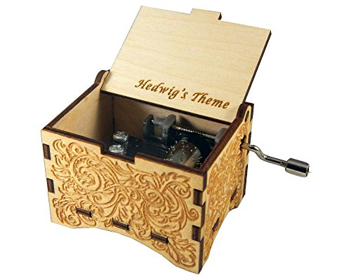 Hedwig's Theme, Personalizable Music Box, Laser Engraved Birch Wood (Ornate Standard)