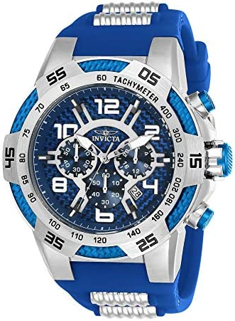 Invicta Men s Speedway Stainless Steel Quartz Watch with Silicone Strap, Blue, 31 Model 24231