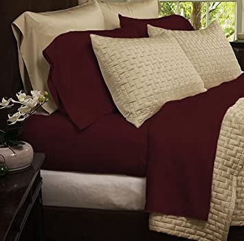 Wonderful Bedding Sets  Eco Friendly Organic Bamboo Bed Sheets Size KING Color  BURGUNDY