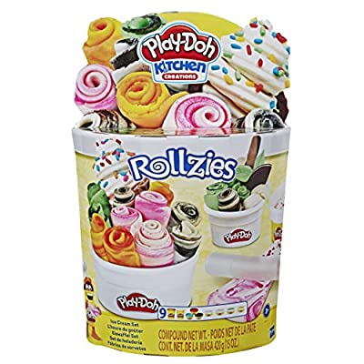 Play-Doh Kitchen Creations Rollzies Rolled Ice Cream Set with 4 Cans of Play-Doh Color Burst Compound Plus 5 Additional Non-Toxic Colors: Toys & Games
