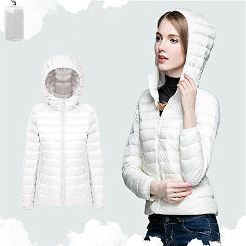 Packable Coat Jacket White Women's BOZEVON Light Weight Outdoor Ultra Down Short Hooded xRESw4T