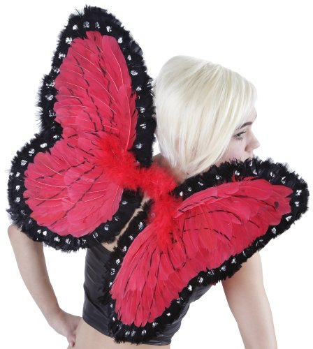 (Red/Black Butterfly Fairy Costume Wings - Feather Wing for Adults and)