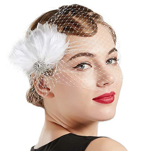 BABEYOND Bridal Wedding Fascinator Mesh Feather Fascinator Hair Clip Tea Party Fascinator Veil Crystal Wedding Veil - Veils Birdcage Bridal
