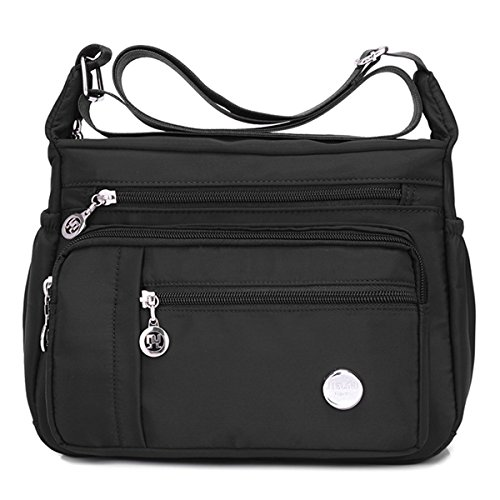 Waterproof Nylon Shoulder Crossbody Bags - Adjustable Shoulder Strap Handbag Multiple Zippered Elastic Pockets with Organizer fors Wallet, Passport, Boarding Pass, Water Resistant ( Black, Large)