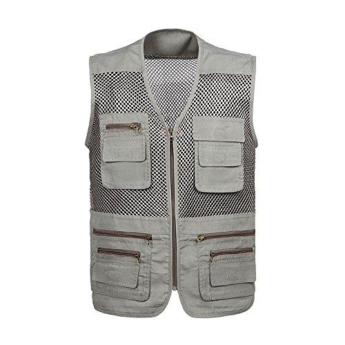 OEAK Men's Fishing Vest Work Utility Mult-Pockets Outdoor Photography Vest