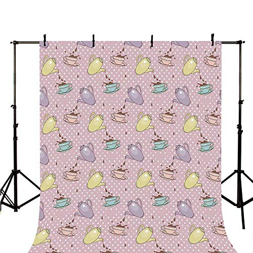 Tea Party Stylish Backdrop,Polka Dots Background with Teapots Teacups Retro Cartoon Style for Photography,118
