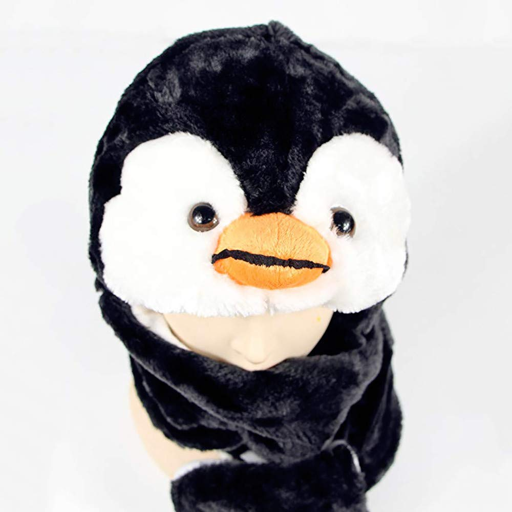 Diadia Plush Novelty Animal Hat 3 in 1 Beanie with Long Paw Scarf Warm Beanie Hat Bear Mitten Combo One Size Fits All Adults /& Kids//Soft