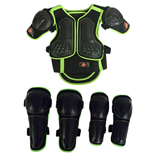 Takuey Kids Motorcycle Armor Suit Dirt Bike Chest Spine Protector Back Shoulder Arm Elbow Knee Protector Motocross Racing Skiing Skating Body Armor Vest Sports Safety Pads 3 Colors (Green, M)