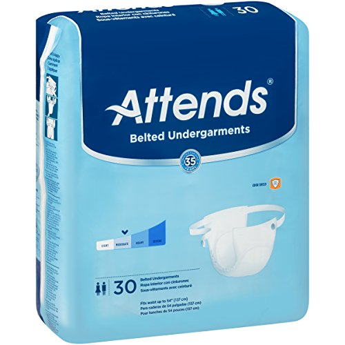Attends Belted Undergarments with Odor Shield Technology for Adult Incontinence Care, Unisex ,  30 Count (Pack of 4) Absorbency Belted Undergarment
