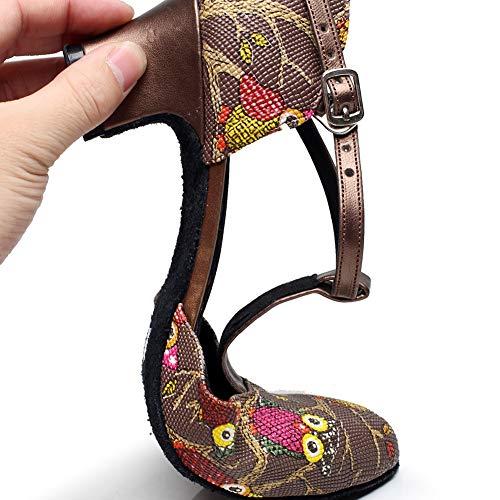 Black5cm Pu Bas Latine Talon Milieu Rond De Femme Danse Bout strap Haute Xiaoy Chaussure T t0Iq66