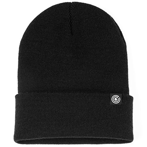 (Revony Cuffed Beanie for Men & Women - Soft, Warm Knit - 10 Colors (Black) )