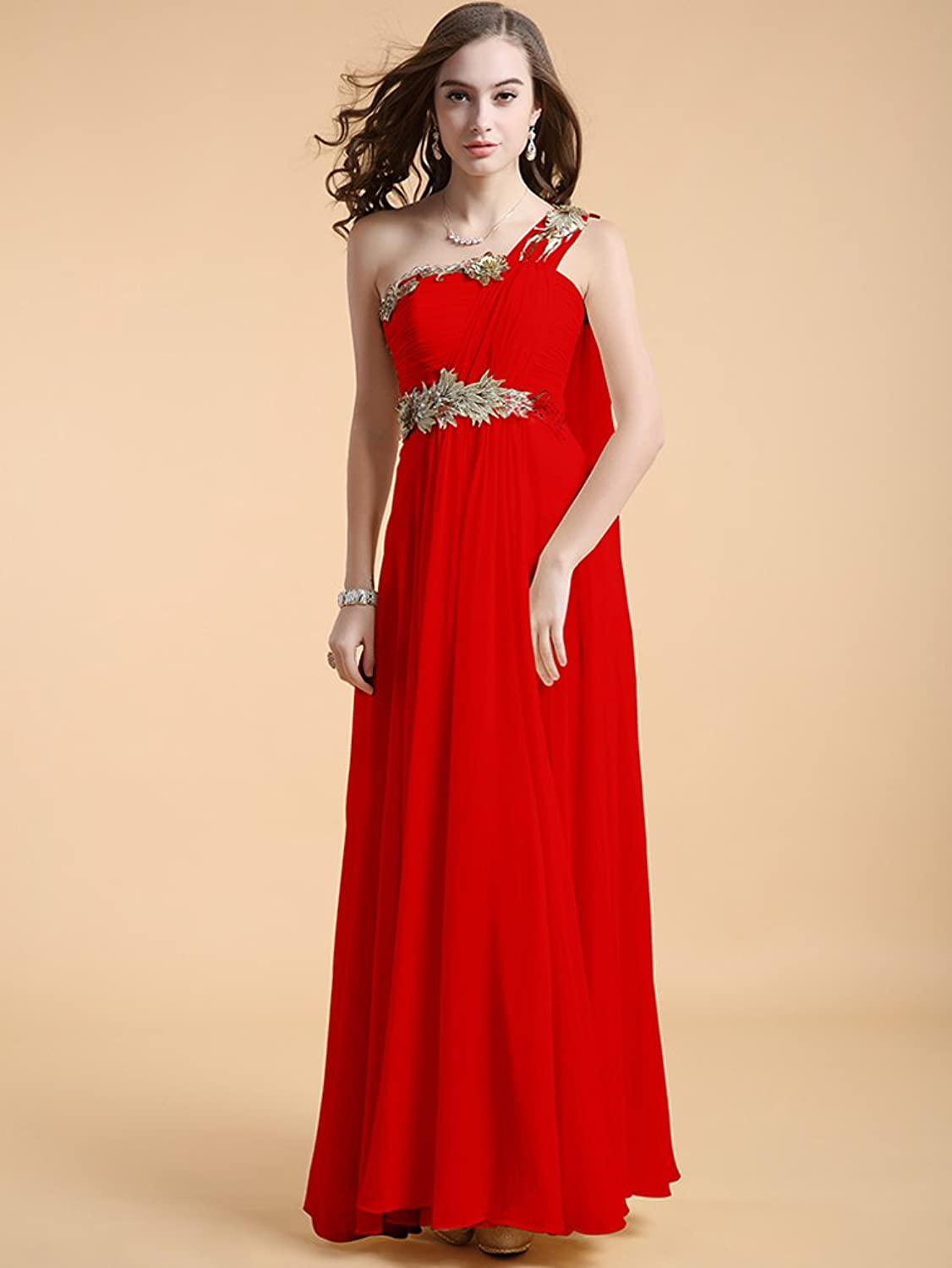 Vimans? Long Red One Shoulder Summer Party Chiffon Dresses for ...