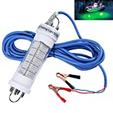 Goture 12V IP68 High-power LED Fully Submersible Night Fishing Light Deep Drop Underwater Lure Bait Fish Finder Lamp with 5.47 Cable for Krill, Phytoplankton, Squid - White, Blue, Green