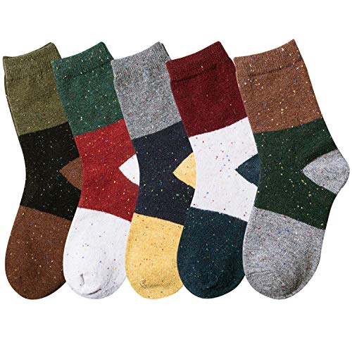 Pack of 5 Womens Winter Soft Warm Thick Knit Wool Vintage Casual Crew Socks (Multicolor 10a)