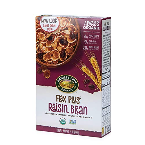 Nature's Path Flax Plus Raisin Bran Cereal, Healthy, Organic, 14 Ounce Box (Pack of 12)