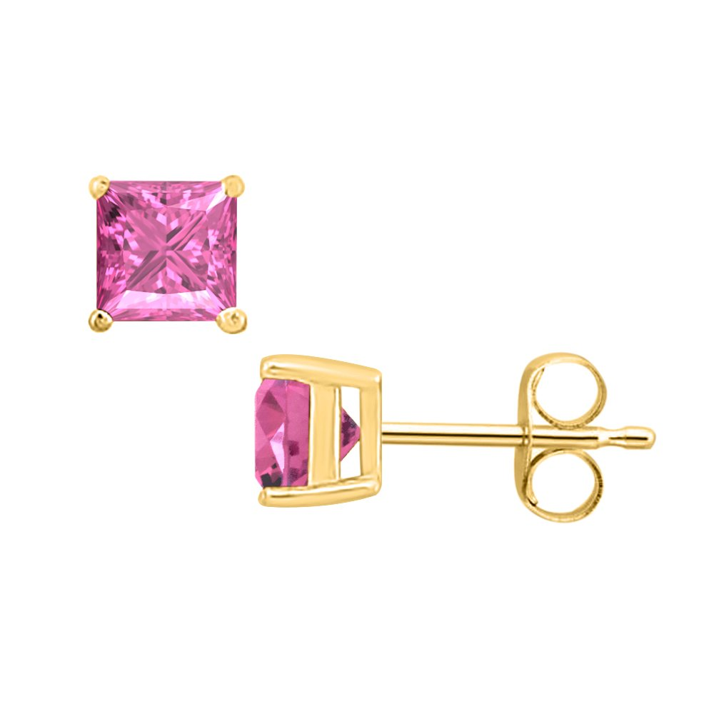 3MM TO 10MM tusakha Fancy Party Wear Princess Cut Pink Sapphire Solitaire Stud Earrings 14K Yellow Gold Over .925 Sterling Silver For Womens /& Girls