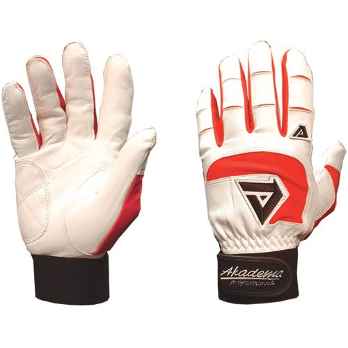 Akadema Professional Batting Gloves (White/Red, (Akadema Professional Baseball)