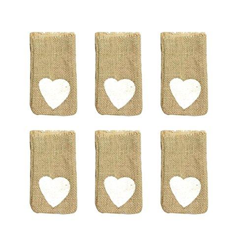 BESTOYARD 6 unids lino con cordón bolsas patrón del corazón del banquete de boda del favor del regalo del bolso de la joyería bolsa de almacenamiento