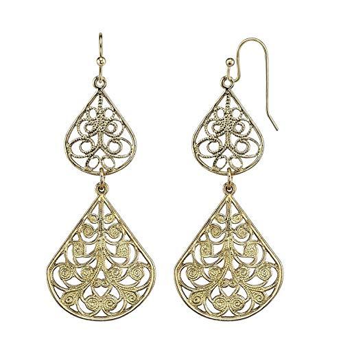 1928 Jewelry Gold-Tone Filigree Vine Double Drop Earrings