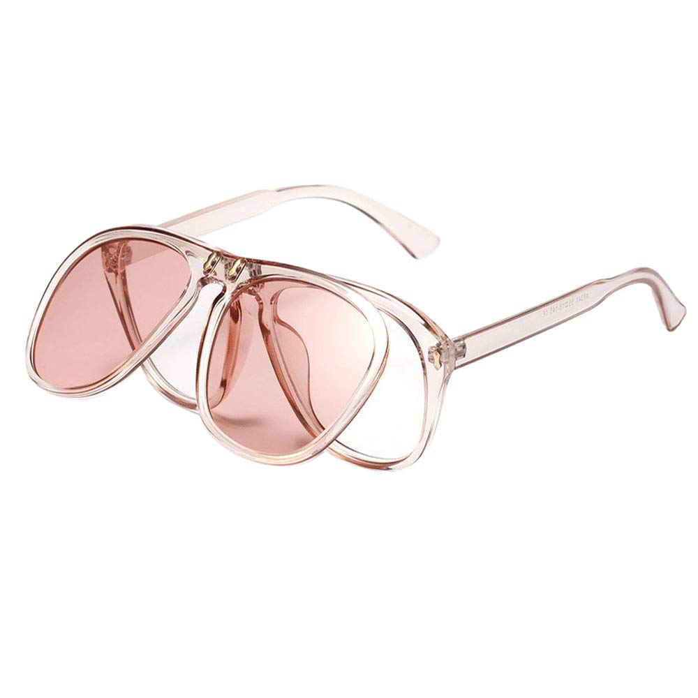 Meyison Square Flip Up Sunglasses for Women Men Oversized Sunglasses Goggles (pink) by Meyison