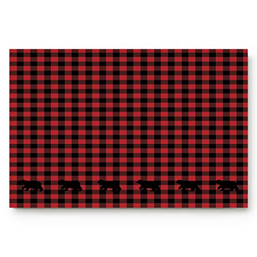"Licans Indoor Doormats Non-Slip Bath Door Mats with Rubber Backing Inside Entrance Rugs Buffalo Check Plaid Bear Applique 23.6"" x 15.7"""