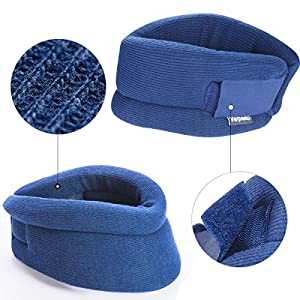 Neck Brace - Cervical Collar - Soft Neck Support Relieves Pain & Pressure in Spine - Wraps Aligns Stabilizes Vertebrae & Keep Warm by Velpeau (Blue, Large)