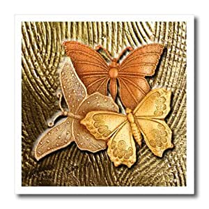 ht_128812_1 Spiritual Awakenings Nature - Gold Embossed background with accents and three beautiful butterflies in golds, yellows and copper. - Iron on Heat Transfers - 8x8 Iron on Heat Transfer for White Material