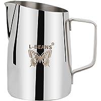 L-BEANS Pot à Lait en Inox pour Cappuccino Musse Tirer Fleur Cup Tasse de Café 450ml