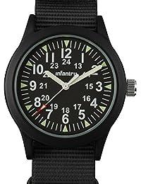 Mens Army Military Field Analog Watch Black Nylon Quartz Wrist Watches for Men 12/24Hr